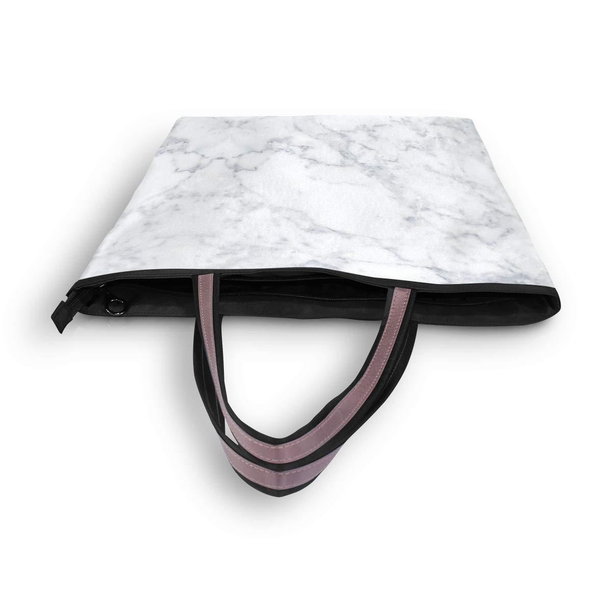 White Marble Women Shoulder Bag Lightweight Multi-Pocket Business Work Office Briefcase