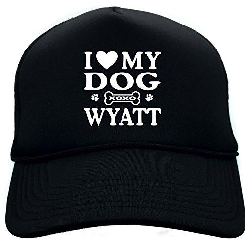 Diva Joy I LOVE (HEART) MY DOG WYATT Black Foam Baseball Cap Trucker (Wyatt Mesh)