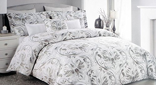 Nicole Miller Bedding 3 Piece Full / Queen Duvet Cover Set Brown Gray Beige Floral Vines Pattern on White with Silver Highlights