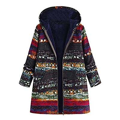 VESNIBA Womens Winter Warm Outwear Floral Print Hooded Pockets Vintage Oversize Coats