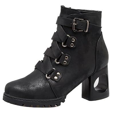 Damen Mode Blockabsatz Kurz Stiefel Ankle Stiefel Black Size 34 Asian TAOFFEN 2sKNaD
