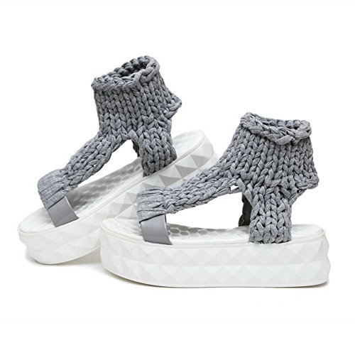 Amoonyfashion Mix Di Materiali Da Donna Solidi Pull In Open Toe Con Gattini Tacchi Sandali Grigi