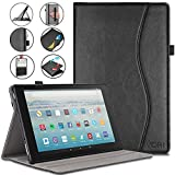 VORI Case for Kindle Fire HD 10 Tablet(7th/5th Generation, 2017/2015 Release), Leather Smart Folio Cover with Hand Strap, Pocket and Auto Wake/Sleep for Kindle Fire 10.1 inch, Black