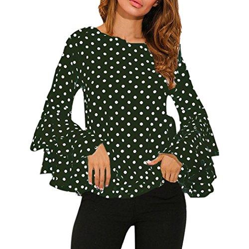 Shirt Aimee7 sciolto Polka sera lunga donna da economici Top primavera Chic Dot Tee camicette casual Flare verde estivi T manica Sleeve Girl Camicetta vestiti Top rrqw7T6