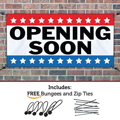 HALF PRICE BANNERS - Opening Soon Banner - Heavy Duty Outdoor - 4'x12' Stars - Made in The USA (Opening Outdoor Banner)