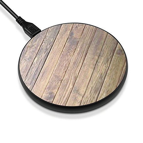 TNP Fast Wireless Charger - QI Wireless Fast Charging Pad Stand Station Dock for iPhone X iPhone 8 / 8 Plus Samsung Galaxy Note 8 S8 S8 Plus S7 S6 Edge Note 5 & All Qi Enabled Devices (Wood Pattern)
