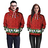 Floral Blouses for Women Fashion 2018,Women's Novelty Hoodies,Lovers Christmas Coloured Lights Print Long Sleeves Caps Tops Sweatshirts,Red,XL