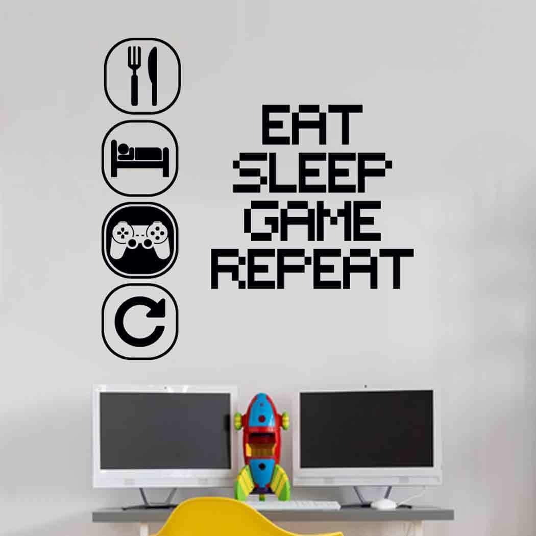 Eat Sleep Play Children room Wall Sticker Mural Vinyl Decal Nursery Kids gamers art teenager video game mural