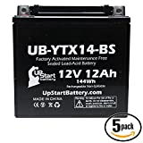 5-Pack Replacement 2005 Kawasaki ZX-12R 1200 CC Factory Activated, Maintenance Free, Motorcycle Battery - 12V, 12AH, UB-YTX14-BS