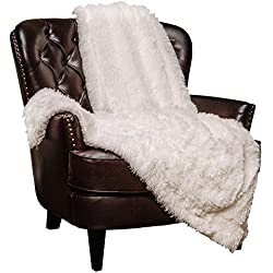 "Chanasya Super Soft Shaggy Longfur Throw Blanket | Snuggly Fuzzy Faux Fur Lightweight Warm Elegant Cozy Plush Sherpa Fleece Microfiber Blanket | for Couch Bed Chair Photo Props - 50""x 65"" - White"