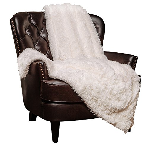 Chanasya Super Soft Shaggy Longfur Throw Blanket | Snuggly Fuzzy Faux Fur Lightweight Warm Elegant Cozy Plush Sherpa Fleece Microfiber Blanket | for Bed Couch Living Bed Room - Queen - White