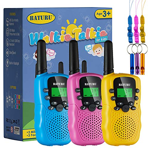 BATURU Walkie Talkies for Kids, Long Range Kids Walkie Talkies 3 Pack with LCD Flashlight, Birthday Gifts Toys for 3-12 Year Old Boys & Girls, Outdoor Camping Game