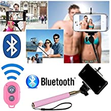 Selfie Stick with Bluetooth Remote for iPhone 6, 6 Plus, 5S, 5C, 5, 4s, 4 Selfy Pole Pod Self Portrait Self Shot Shooting Monopod for iPhone, Android, iPod, Arm Extender Rod comes with Cell Phone Tripod Adapter Head, Also for Samsung Galaxy S5 S4 S3 S2 Note 2 ** Make Better Videos and Selfie Pictures Pics Photos with your Cell Phone Camera ** Great Valentines Day Gifts or Mardi Gras Idea for Teens, Kids, Women, Wife, Teenage Girl, Him, Her ** - Davoice(TM) (Baby Pink)