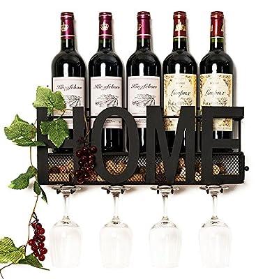 Wall Mounted Metal Wine Rack 4 Long Stem Glass holder & Wine Cork Storage By Soduku