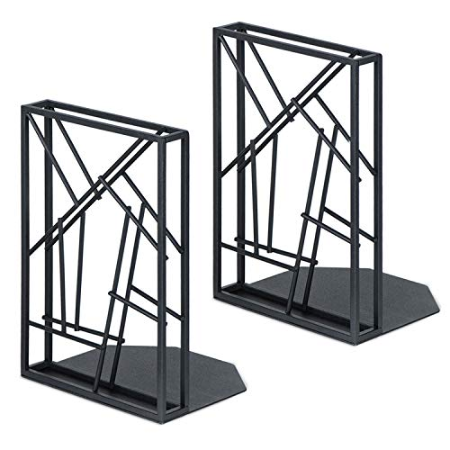SRIWATANA Bookends Black, Book Ends Heavy Duty for Shelves Non-Skid & Anti-Scratching, Artistic Design