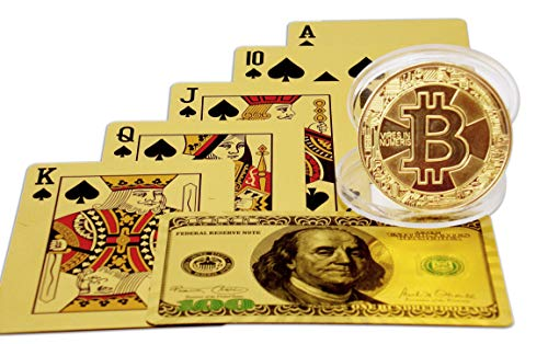 (Big Texas Mall 24k Gold Original Ben Franklin $100 Bill Poker Playing Cards w/Gold Plated Collectible Bitcoin Coin for Place Setting Cards Real Gold Professional Quality Gold Foil Plated Prestige Set)