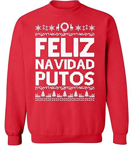 Raxo Feliz Navidad Putos Christmas sweatshirt Ugly Christmas sweater Funny Christmas Sweater Party Holiday sweater Red XL -