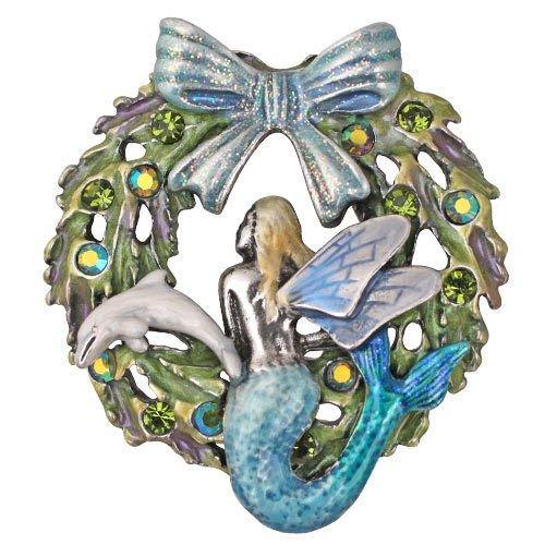 Kirks Folly Mermaid Fairy Christmas Wreath Pin