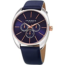 Akribos XXIV Men's Leather Watch – Blue Casual Designer Wristwatch with Multifunction Chronograph and Sunray Dial - AK998BU