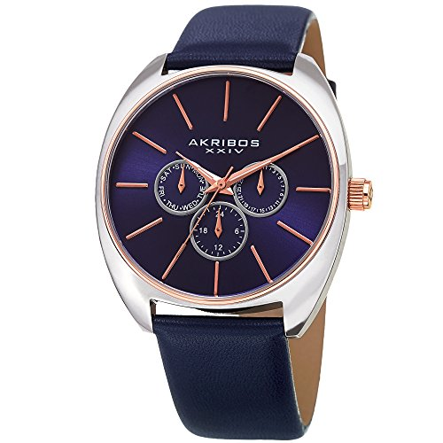 Akribos XXIV Men's Leather Watch – Blue Casual Designer Wristwatch with Multifunction Chronograph and Sunray Dial - AK998BU ()