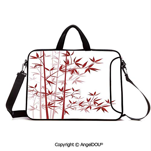 (AngelDOU Customized Neoprene Printed Laptop Bag Notebook Handbag Illustration of Bamboo Asian Nature Exotic Plant Pattern Cultural Symbolic Artwo Compatible with mac air mi pro/Lenovo/asus/acer)