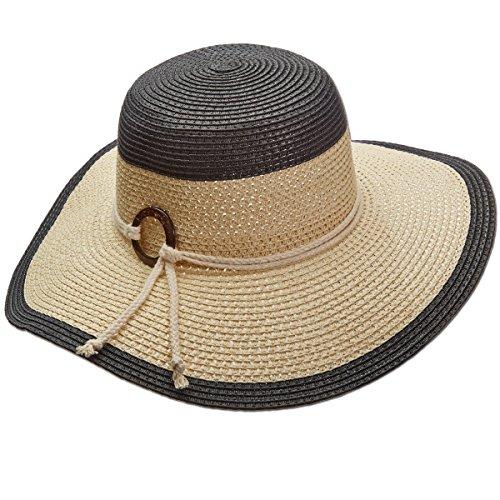 Panama Jack Women's Two-Tone Paper Braid Packable Sun Hat, 4