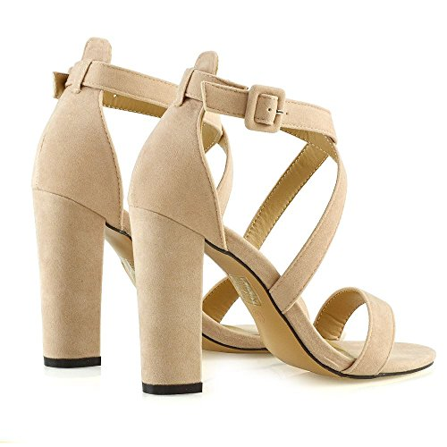 Peep Sandals Nude ESSEX Toe Ladies Bridal Strappy Size Party Block Shoes Prom GLAM Womens Heel Xq4q0ag