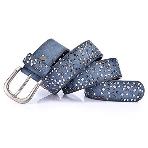 Split Leather PU Rivet Inlay Stars Belt For Women Fashion Pin Buckle Waist Blue 105cm