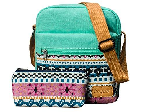Canvas Messenger Bag Crossbody Bags for Women Purse Travel Shoulder Bag Pencil Case 2 PCS by Leaper (Water Blue)