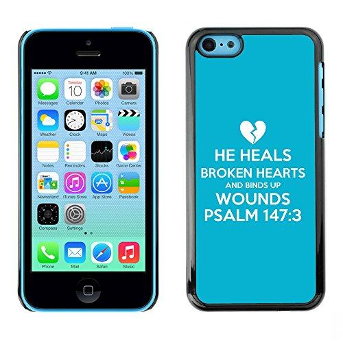 DREAMCASE Citation de Bible Coque de Protection Image Rigide Etui solide Housse T¨¦l¨¦phone Case Pour APPLE IPHONE 5C - HE HEALS BROKEND HEARTS AND BINDS UP WOUNDS - PSALM 147:3