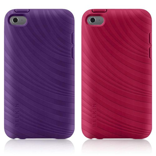 Belkin Essential 023 Case for Apple iPod Touch 4th Generation, 2 Pack -Purple Lightning/Paparazzi Pink (Belkin Pink Silicone Sleeve)