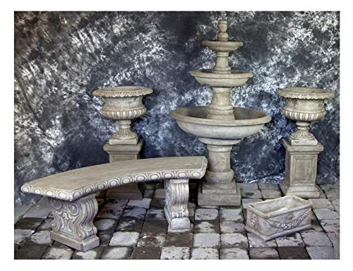 Fleur de Lis Garden Ornaments LLC Three Tier Renaissance Fountain with Classic Curved Bench Package Number 1006
