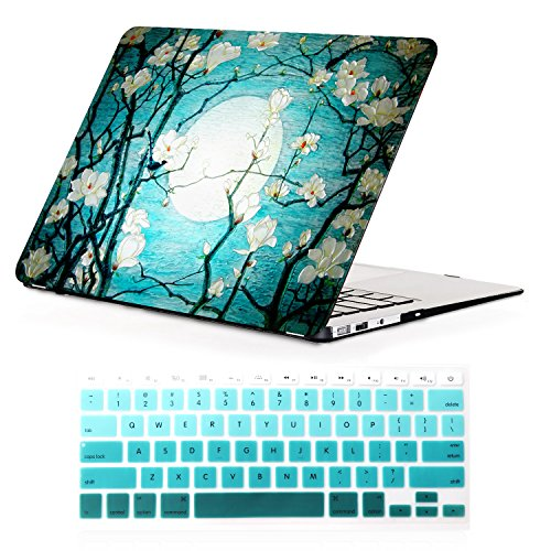 iCasso Macbook Air 13 inch Rubber Coated Soft Touch Hard Shell Protective Case Cover For Macbook Air 13 Inch Model A1369/A1466 With Keyboard Cover (Cherry Blossom)