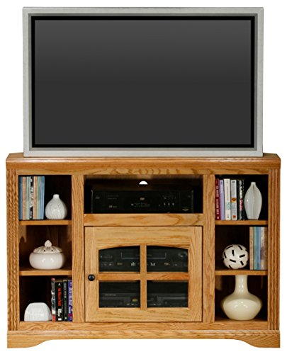 """Eagle Oak Ridge Thin Corner TV Cart, 45"""", Light Oak Finish"""