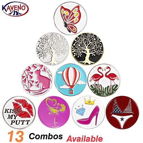 kaveno Golf Ball Marker Series, Assorted Design, Pack of 5/10/20 (Colorful Marker - 10PCS)