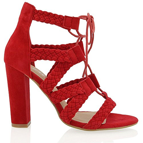 ESSEX GLAM Womens Chunky Heel Sandals Lace Up Tie Faux Suede Woven Strap Open Toe Shoes Red Faux Suede owMSOOs