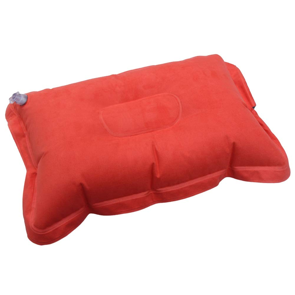 ZOUBIAG Inflatable Pillow Imitation Leather Suede Outdoor Portable Camping Healthy Sleep (Color : Red) by ZOUBIAG