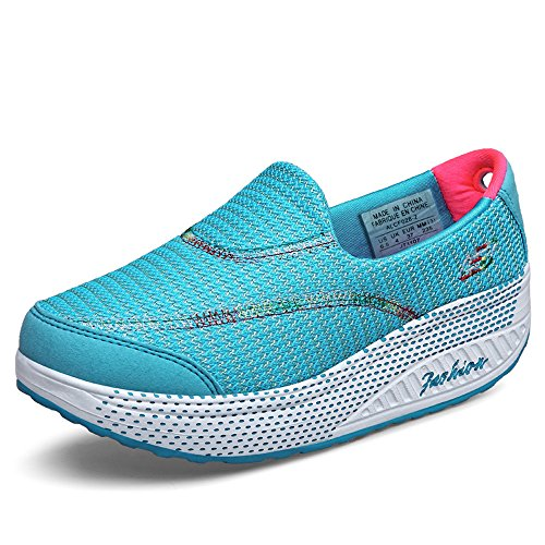 CMEI-RX915tianlan35 Womens Slip-On Platform Walking Shoes Mesh Elevator Shape Ups Fitness Sneakers Sky Blue 5 B(M) US ydElUF1