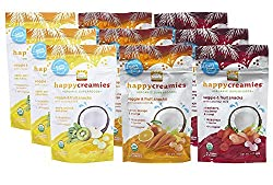 Happy Creamies Organic Superfoods Veggie & Fruit Snacks with Coconut Milk Variety Pack (9)