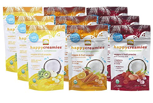 Happy Creamies Organic Superfoods Veggie & Fruit Snacks with Coconut Milk Variety Pack (9)