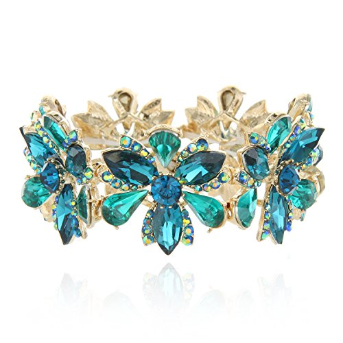 SP Sophia Collection Women's Flower Blossom Glass Stone Fashion Stretch Bracelet in Teal]()