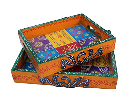 Crafticia Indian Crafts Rajasthan Pink City Ethnic Unique Traditional Wood Handmade Handicraft Kitchen Serving Tray With Handles Set Decorative Gift Item