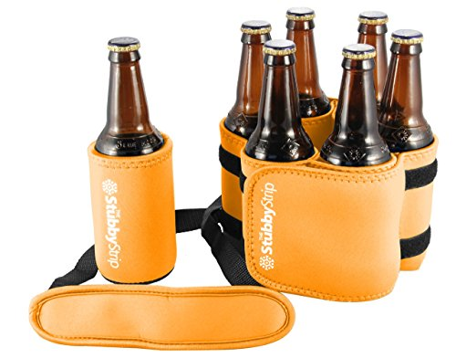 StubbyStrip Premium Portable Insulated Drink Carrier Neoprene 1-7 Bottle or Can Holder, Orange (1 Drink)