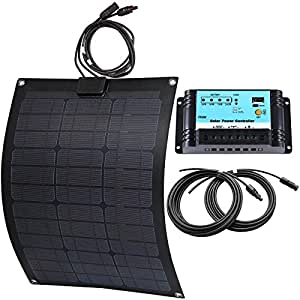 Lensun 50W 12V Semi-Flexible Fiberglass Back Sheet Solar Panel Kit with 10A Solar Charge Regulator and 5m Cables with MC4 Connector for 12V Charge Battery on Boats Caravans Motorhome Yatch RV