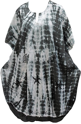 La Leela Frauen Beachwear Badebekleidung Bikini-Vertuschung Kaftan maxi lässig Kimono weißen Kleid