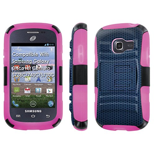 Samsung Galaxy Discover Centura S738C / 740 C / S730 GCase, [NakedShield] [Black/Rose Pink] Armor Tough Shock Proof Kickstand Case - [Parallel Lines] for Galaxy Discover Centura -