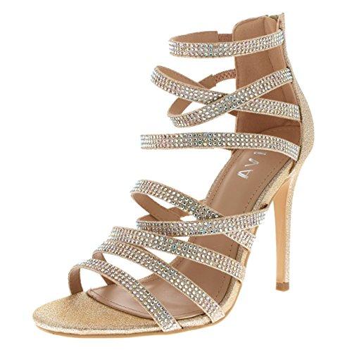 Viva Womens Diamante Mid Heel Multi Strap Wedding Party Evening Sandals Shoes - Rose Gold KL0309T - Heels Multi Gold