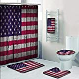 Philip-home 5 Piece Banded Shower Curtain Set United States of America with USA Flag on Wooden Aged Pattern Printing Suit