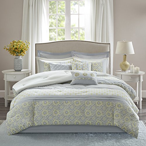 Madison Park Adelaide Queen Size Bed Comforter Set Bed in A Bag - Yellow, Light Grey, White, Pieced Circular Medallion – 9 Pieces Bedding Sets – 100% Cotton Bedroom ()