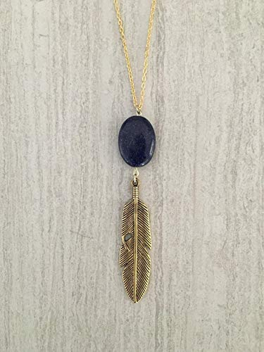 Blue Lapis Lazuli Oval Gold Feather Long Necklace